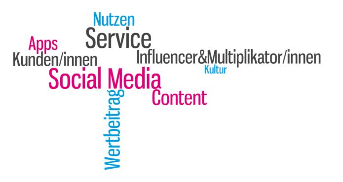 tag cloud blogbeitrag zu apps social media content influencer nutzen wertbeitrag service kultur - erstellt von isabella andric